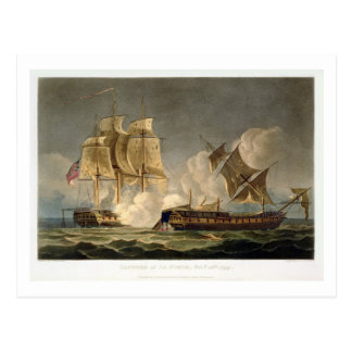 Capture of La Forte, February 28th 1799, engraved Postcard