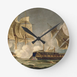 Capture of La Forte, February 28th 1799, engraved Round Clock