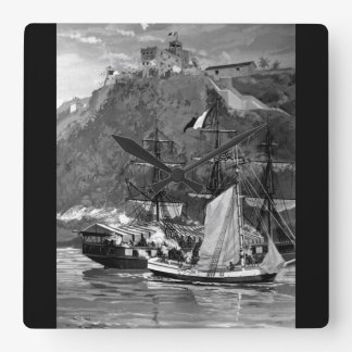 Capture of the French Privateer Sandwich by armed_ Square Wall Clock