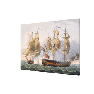 Capture of the Liguria, August 7th 1798, engraved Stretched Canvas Print