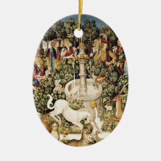 Capture of the Unicorn Ceramic Ornament