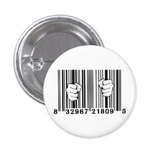 Captured By Consumerism UPC Barcode Prison 1 Inch Round Button