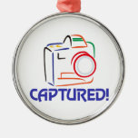 Captured on Camera Round Metal Christmas Ornament