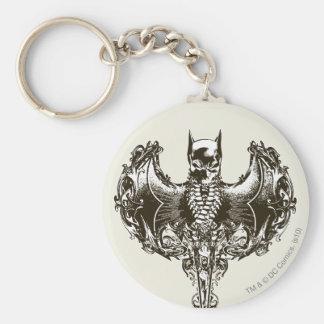 Capucha de Batman y escudo del cráneo Llavero Redondo Tipo Pin