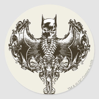 Capucha de Batman y escudo del cráneo Etiqueta Redonda