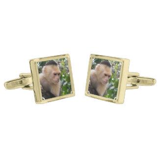 Capuchin Monkey Gold Finish Cuff Links