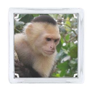 Capuchin Monkey Silver Finish Lapel Pin