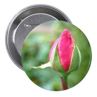 Capullo de rosa, botón grande pin redondo de 3 pulgadas