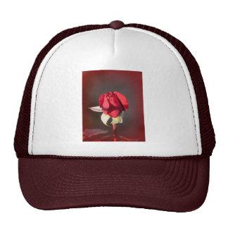 Capullo de rosa carmesí rojo del ramo gorro de camionero