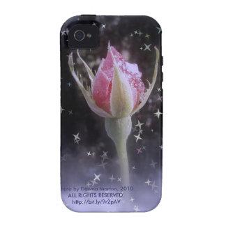 capullo de rosa estrellado el chispear en la nieve Case-Mate iPhone 4 fundas