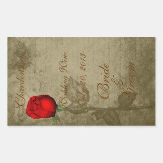 Capullo de rosa rojo del color de punto de la pegatina rectangular