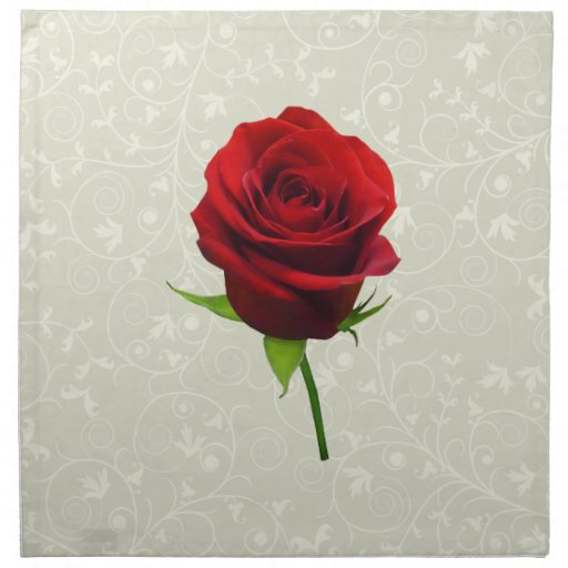 Capullo de rosa rojo elegante servilleta