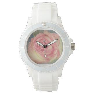 Capullo de rosa rosado llevado vintage relojes de pulsera