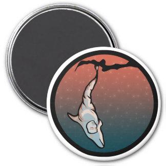 capullo del delfín de la luz de las estrellas imán redondo 7 cm