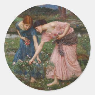 Capullos de rosa de YE del frunce mientras que Pegatina Redonda