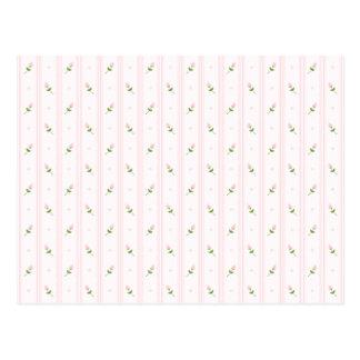 Capullos de rosa y rayas rosados tarjetas postales