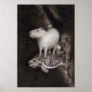 Capybara and terrapin flying through space poster
