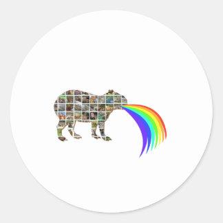Capybara barfing a rainbow classic round sticker
