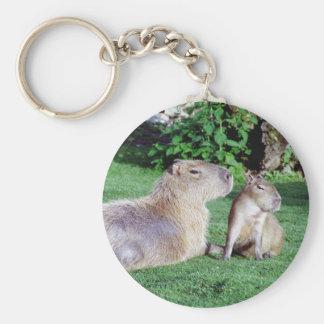 Capybara Mom and Son Keychain