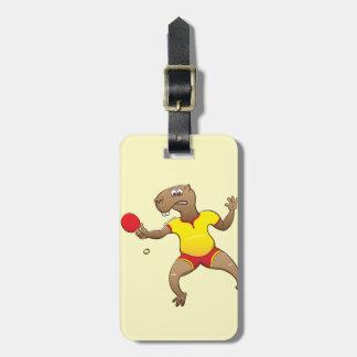 Capybara playing table tennis bag tag