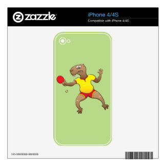 Capybara playing table tennis decals for iPhone 4S