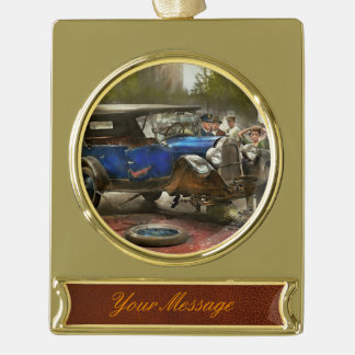 Car Accident - It came out of nowhere 1926 Gold Plated Banner Ornament