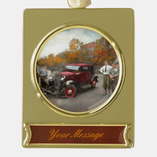 Car - Accident - Late for tee time 1932 Gold Plated Banner Ornament