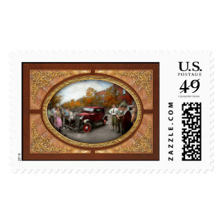 Car - Accident - Late for tee time 1932 Postage Stamp