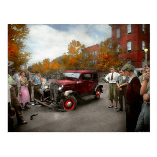 Car - Accident - Late for tee time 1932 Postcard