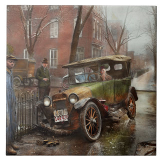 Car Accident - Watch for ice 1921 Ceramic Tile