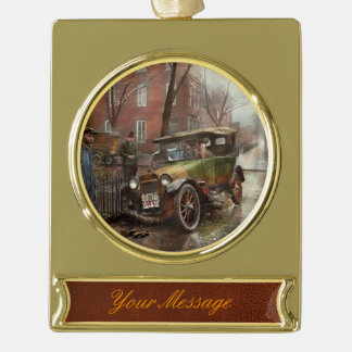 Car Accident - Watch for ice 1921 Gold Plated Banner Ornament