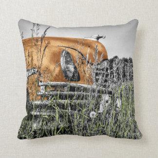 Car amid the Weeds Throw Pillow