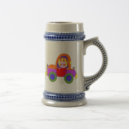 car and little girl beer stein