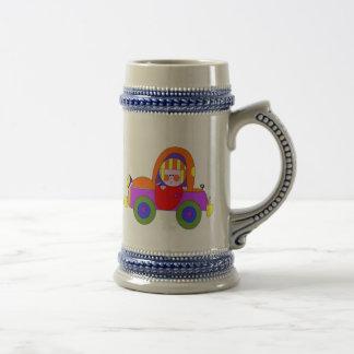 car and little girl coffee mug