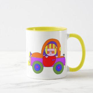 car and little girl mug