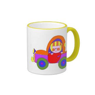 car and little girl mugs
