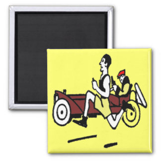 CAR AND RUNNER 2 INCH SQUARE MAGNET