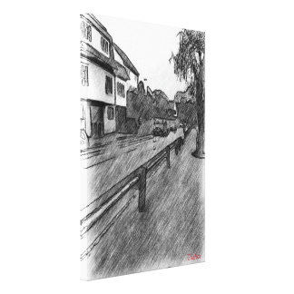 car and traffic drawing canvas print