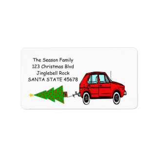 Car and tree Christmas label