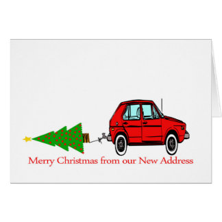 Car and tree Christmas New Address Card