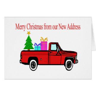 Car and tree Christmas New Address Card