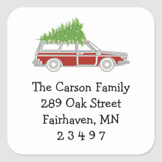 Car and Tree Holiday Return Address Sticker