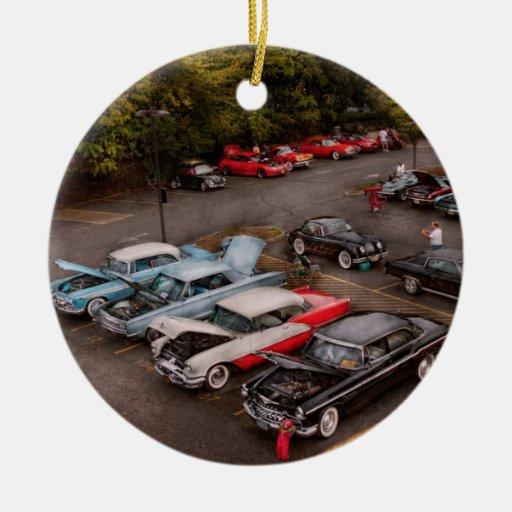 Car - Antique car show Double-Sided Ceramic Round Christmas Ornament