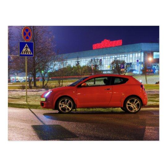 Car at evening postcard