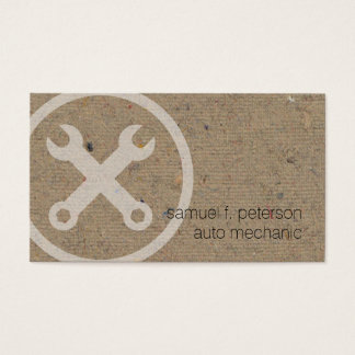 Car Auto Mechanic Wrench Icon Natural PaperTexture Business Card