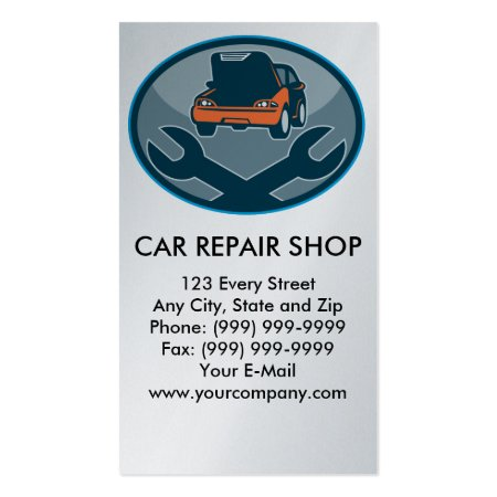 Cartoon Car and Spanner Business Cards