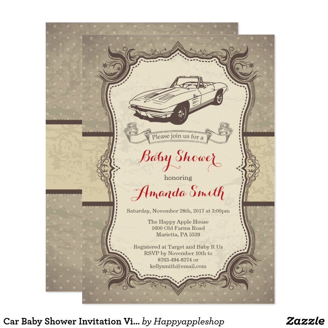 Car Baby Shower Invitation Vintage Retro