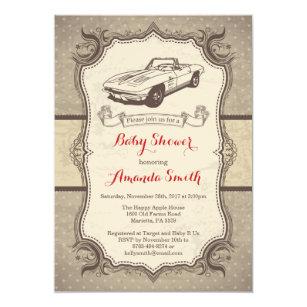 Car Baby Shower Invitation Vintage Retro