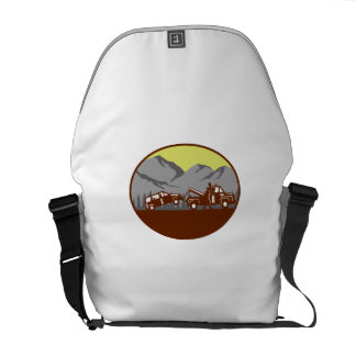 Car being towed Away Mountains Oval Woodcut Messenger Bag