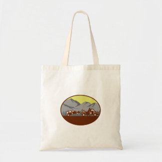 Car being towed Away Mountains Oval Woodcut Tote Bag